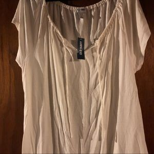 NWT, cap sleeve, top, tie neck, elastic bottom